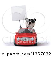 Clipart Of A 3d Business Panda Wearing Sunglasses Holding A Blank Sign And Driving A Red Convertible Car On A White Background Royalty Free Illustration by Julos