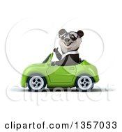 Clipart Of A 3d Bespectacled Business Panda Giving A Thumb Up And Driving A Green Convertible Car On A White Background Royalty Free Illustration by Julos