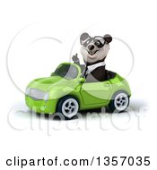Clipart Of A 3d Bespectacled Business Panda Giving A Thumb Up And Driving A Green Convertible Car On A White Background Royalty Free Illustration