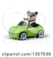 Clipart Of A 3d Bespectacled Business Panda Giving A Thumb Down And Driving A Green Convertible Car On A White Background Royalty Free Illustration