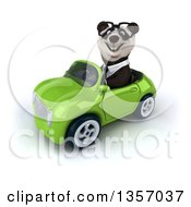 Clipart Of A 3d Bespectacled Business Panda Driving A Green Convertible Car On A White Background Royalty Free Illustration