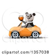 Clipart Of A 3d Business Panda Holding A Honey Jar And Driving An Orange Convertible Car On A White Background Royalty Free Illustration by Julos