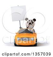 Clipart Of A 3d Business Panda Holding A Blank Sign And Driving An Orange Convertible Car On A White Background Royalty Free Illustration