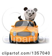 Clipart Of A 3d Business Panda Giving A Thumb Up And Driving An Orange Convertible Car On A White Background Royalty Free Illustration by Julos