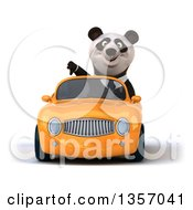Clipart Of A 3d Business Panda Giving A Thumb Down And Driving An Orange Convertible Car On A White Background Royalty Free Illustration