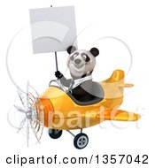 Clipart Of A 3d Business Panda Holding A Blank Sign And Flying A Yellow Airplane On A White Background Royalty Free Illustration by Julos