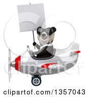 Clipart Of A 3d Business Panda Wearing Sunglasses Holding A Blank Sign And Flying A White And Red Airplane On A White Background Royalty Free Illustration by Julos