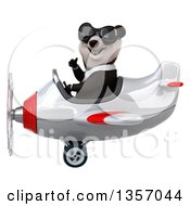 Clipart Of A 3d Business Panda Wearing Sunglasses Giving A Thumb Up And Flying A White And Red Airplane On A White Background Royalty Free Illustration by Julos