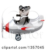 Clipart Of A 3d Business Panda Wearing Sunglasses Giving A Thumb Down And Flying A White And Red Airplane On A White Background Royalty Free Illustration