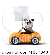 Clipart Of A 3d Panda Holding A Blank Sign And Driving An Orange Convertible Car On A White Background Royalty Free Illustration