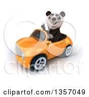 Clipart Of A 3d Panda Giving A Thumb Up And Driving An Orange Convertible Car On A White Background Royalty Free Illustration by Julos