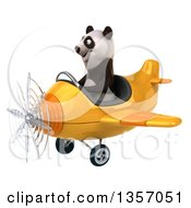Clipart Of A 3d Panda Aviator Pilot Flying A Yellow Airplane On A White Background Royalty Free Illustration