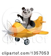 Clipart Of A 3d Panda Aviator Pilot Giving A Thumb Down And Flying A Yellow Airplane On A White Background Royalty Free Illustration