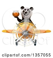 Clipart Of A 3d Panda Aviator Pilot Holding A Honey Jar And Flying A Yellow Airplane On A White Background Royalty Free Illustration by Julos