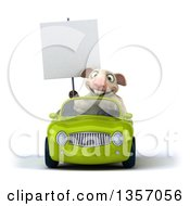 Clipart Of A 3d Sheep Holding A Blank Sign And Driving A Green Convertible Car On A White Background Royalty Free Illustration