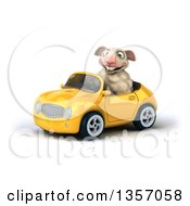 Clipart Of A 3d Sheep Driving A Yellow Convertible Car On A White Background Royalty Free Illustration