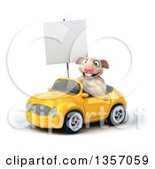 Clipart Of A 3d Sheep Holding A Blank Sign And Driving A Yellow Convertible Car On A White Background Royalty Free Illustration