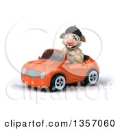 Clipart Of A 3d French Sheep Driving An Orange Convertible Car On A White Background Royalty Free Illustration