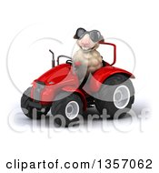 Clipart Of A 3d Sheep Wearing Sunglasses And Operating A Red Tractor On A White Background Royalty Free Illustration