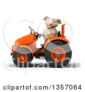 Clipart Of A 3d Sheep Operating An Orange Tractor On A White Background Royalty Free Illustration