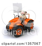 Clipart Of A 3d Sheep Holding A Blank Sign And Operating An Orange Tractor On A White Background Royalty Free Illustration