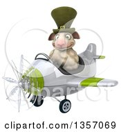 Clipart Of A 3d Irish Sheep Aviatior Pilot Flying A White And Green Airplane On A White Background Royalty Free Illustration