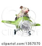 Clipart Of A 3d Sheep Aviatior Pilot Flying A Green Airplane On A White Background Royalty Free Illustration