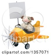 Clipart Of A 3d Sheep Aviatior Pilot Holding A Blank Sign And Flying A Yellow Airplane On A White Background Royalty Free Illustration