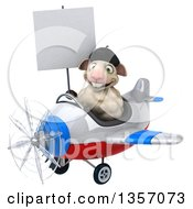 Clipart Of A 3d French Sheep Aviatior Pilot Holding A Blank Sign And Flying A White Blue And Red Airplane On A White Background Royalty Free Illustration by Julos