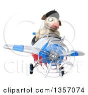 Clipart Of A 3d French Sheep Aviatior Pilot Flying A White Blue And Red Airplane On A White Background Royalty Free Illustration