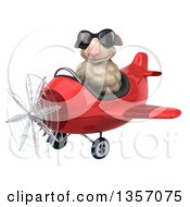 Clipart Of A 3d Sheep Aviatior Pilot Wearing Sunglasses And Flying A Red Airplane On A White Background Royalty Free Illustration by Julos