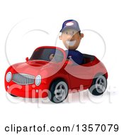 Clipart Of A 3d Short White Male Auto Mechanic By A Red Convertible Car On A White Background Royalty Free Illustration by Julos