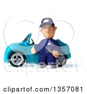 Clipart Of A 3d Short White Male Auto Mechanic By A Blue Convertible Car On A White Background Royalty Free Illustration by Julos