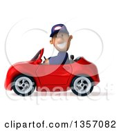 Clipart Of A 3d Short White Male Auto Mechanic Driving A Red Convertible Car On A White Background Royalty Free Illustration by Julos