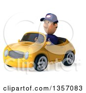 Clipart Of A 3d Short White Male Auto Mechanic Driving A Yellow Convertible Car On A White Background Royalty Free Illustration by Julos