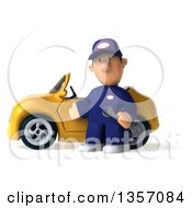 Clipart Of A 3d Short White Male Auto Mechanic By A Yellow Convertible Car On A White Background Royalty Free Illustration by Julos