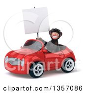 Clipart Of A 3d Chimpanzee Monkey Wearing Sunglasses Holding A Blank Sign And Driving A Red Convertible Car On A White Background Royalty Free Illustration by Julos