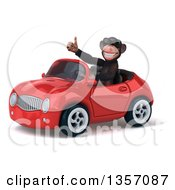 Clipart Of A 3d Chimpanzee Monkey Wearing Sunglasses Giving A Thumb Up And Driving A Red Convertible Car On A White Background Royalty Free Illustration