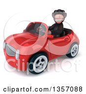 Clipart Of A 3d Chimpanzee Monkey Wearing Sunglasses And Driving A Red Convertible Car On A White Background Royalty Free Illustration by Julos