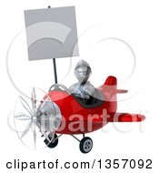 Clipart Of A 3d Armored Chevallier Knight Aviator Pilot Holding A Blank Sign And Flying A Red Airplane On A White Background Royalty Free Illustration