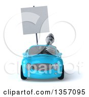 Clipart Of A 3d Armored Chevallier Knight Holding A Blank Sign And Driving A Blue Convertible Car On A White Background Royalty Free Illustration