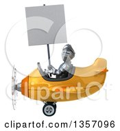 Clipart Of A 3d Armored Chevallier Knight Aviator Pilot Holding A Blank Sign And Flying A Yellow Airplane On A White Background Royalty Free Illustration