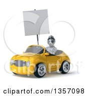 Clipart Of A 3d Armored Chevallier Knight Holding A Blank Sign And Driving A Yellow Convertible Car On A White Background Royalty Free Illustration