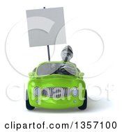 Clipart Of A 3d Armored Chevallier Knight Holding A Blank Sign And Driving A Green Convertible Car On A White Background Royalty Free Illustration