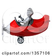 Clipart Of A 3d Armored Chevallier Knight Aviator Pilot Giving A Thumb Up And Flying A Red Airplane On A White Background Royalty Free Illustration