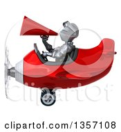 Clipart Of A 3d Armored Chevallier Knight Aviator Pilot Using A Megaphone And Flying A Red Airplane On A White Background Royalty Free Illustration