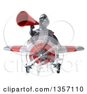Clipart Of A 3d Armored Chevallier Knight Aviator Pilot Using A Megaphone And Flying A White And Red Airplane On A White Background Royalty Free Illustration