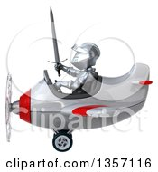 Clipart Of A 3d Armored Chevallier Knight Aviator Pilot Flying A White And Red Airplane On A White Background Royalty Free Illustration