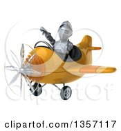 Clipart Of A 3d Armored Chevallier Knight Aviator Pilot Giving A Thumb Down And Flying A Yellow Airplane On A White Background Royalty Free Illustration