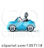 Clipart Of A 3d Armored Chevallier Knight Giving A Thumb Up And Driving A Blue Convertible Car On A White Background Royalty Free Illustration